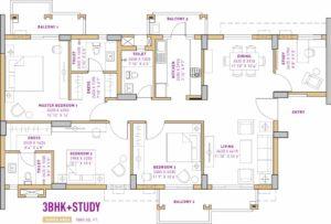 Vatika The Seven Lamps (3BHK+3T (1,880 sq ft) + Study Room 1880 sq ft)